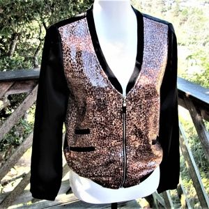 None Jackets & Coats - Light weight leopard print sequined jacket or top